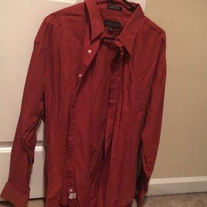 Burnt orange button up dress shirt